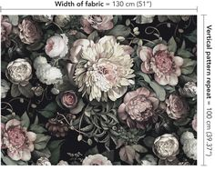 Dark Floral II Black Saturated on Silk Satin Fabric - by Ellie Cashman Design