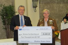 Thanks to the Montana Farmers Union (MFU) for their donation of $5,000 to the Montana Food Bank Network. That's 15,000 meals to support hungry children, families and seniors across Montana! Our CEO, Gayle Gifford, received the donation from MFU President Alan Merrill. #grateful