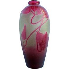 D'Argental Cameo Glass Vase-Fire Polished, C.1920