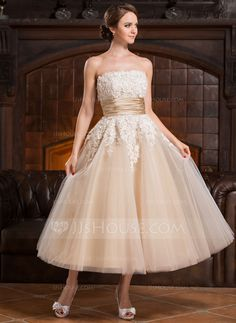 A-Line/Princess Strapless Tea-Length Satin Tulle Wedding Dress With Beading Appliques Lace Sequins (002056491) - JJsHouse
