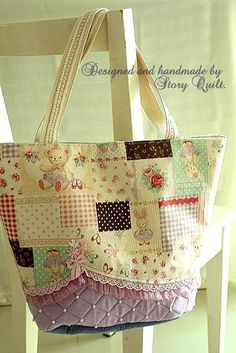 Welcome to Story Quilt Patchwork Bags, Quilted Bag, Japanese Patchwork, Fabric Purses, Fabric Bags, Diy Purse, Handmade Purses, Craft Bags, Denim Bag