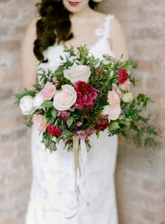 Berry and blush hues: http://www.stylemepretty.com/little-black-book-blog/2015/03/13/fresh-romantic-industrial-wedding-inspiration/   Photography: Rebecca Yale - http://rebeccayaleportraits.com/