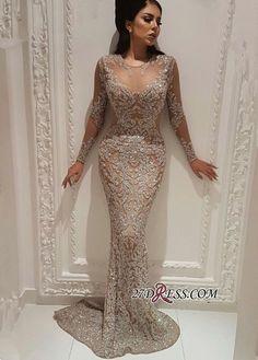 da0210bf75303 2019 Popular Mermaid Crew Illusion Beadings Prom Dress