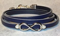 Infinity & Navy Blue Leather Bracelet Triple by DesignsByJen1