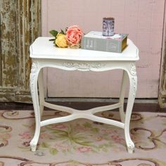 Pretty French Style Side Table in White $295.00 #thebellacottage #shabbychic #OOAK
