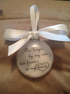 Pet Memorial Christmas Ornament - In Memory Gift - No Longer By My Side Forever in My Heart - Loss of Cat - Personalized Dog Keepsake Christmas Holidays, Christmas Bulbs, Christmas Crafts, Christmas Decorations, Christmas Sayings, Xmas, Christmas Centerpieces, Memorial Ornaments, Memorial Gifts