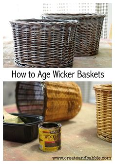 Wicker baskets are plentiful at thrift stores. Learn how to easily give them a aged patina. How to age wicker baskets. #thriftstoremakeovers