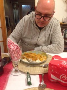 My gorgeous hubby tucking into his vegan curry while we all stuff ourselves with beef!