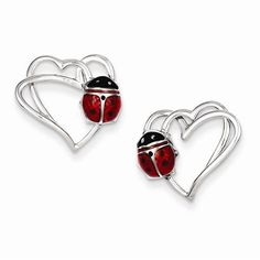 Sterling Silver Heart with Enameled Ladybug Post Earrings. 14 mm by 15 mm. Style…
