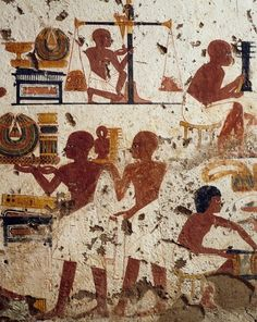 Painted relief, lower part of the south-east wall, transverse chamber.  Jewelers, carpenters and metal workers. Tomb of Nebamun and Ipuki (TT181), at Deir el-Bahari, Valley of the Nobles.   New Kingdom, 18th Dynasty, ca. 1550-1292 BC.  Now in the Metropolitan Museum of Art, New York.  Egypt Museum