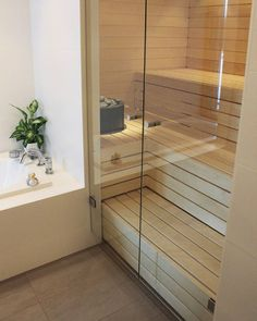 Portable Steam Sauna - We Answer All Your Questions! Bathroom Spa, Modern Bathroom, Narrow Bathroom, Saunas, Spa Rooms, House Rooms, Building A Sauna, Sauna Shower, Sauna Design