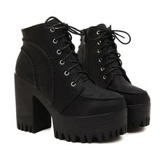 Black Area Boots ($67) ❤ liked on Polyvore featuring shoes, boots, black, botas, heels, faux-leather boots, high heeled footwear, vegan boots, black heeled boots and high heel shoes