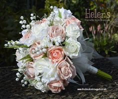Wedding Bouquet of peach, ivory and vintage peach toned artificial roses with lily of the valley and hydrangea - design is available to order in any combination of colours and embellishments, price starts at £40 for a brides size posy - we ship worldwide