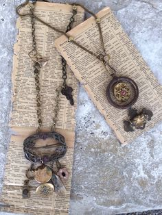 One of a kind necklaces.  Found objects. $98 or $142 for long necklace. Only at Haberdashery Boutique, Fredericksburg, Tx.