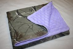 Camo and purple stroller baby blanket (27 x 21)- light purple minky dot and realtree camo camouflage baby girl blankey by StitchesBySteele on Etsy
