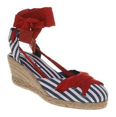 """Office nautical raffia and canvas espadrille wedges. In 1936, in desperation, Ferragamo invented a new version of the platform heel, in which the space between the platform sole and the heel was entirely filled in. It was made of layers of Sardinian cork so that the sole remained light despite its huge volume and perfectly supported the arch."""""""