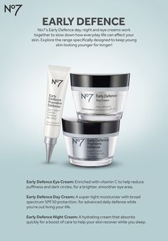No7's Early Defence skincare range is specifically designed to fight those first signs of aging. The day, night and eye creams work together to slow down how everyday life can affect your skin. Explore the range and discover how it can help you take control of your skin's future.