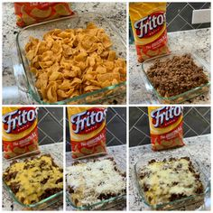 Bake all the taco flavor you love into this Taco Bake with flavorful toppings. Also known as Walking Tacos or Frito Pie, this tasty dish is a crowd favorite Mexican Food Recipes, New Recipes, Cooking Recipes, Favorite Recipes, Recipies, Dinner Recipes, Easy Family Recipes, Easy Recipes, Easy Meals