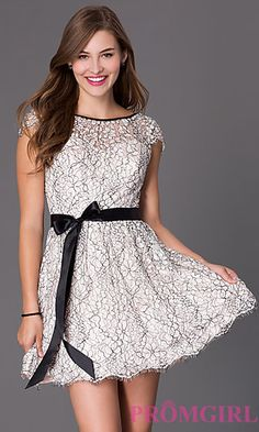 Short Lace Cap Sleeve Dress by Masquerade at PromGirl.com