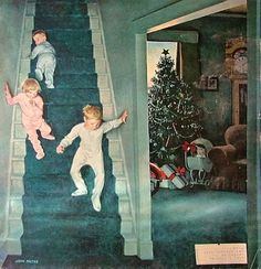 Christmas morning! It's a nice painting of a warm scene, and it's on the cover of the Saturday Evening Post,  but it isn't Norman Rockwell.  The signature is John Falter.