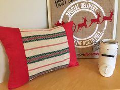 Scandinavian Vintage Linen (Green and Red stripes) upcycled into a fabulous Rustic Christmas Pillow!  $124.00.  Use PIN10 Coupon Code to receive 10% off!  VintageStoryLinens at etsy.