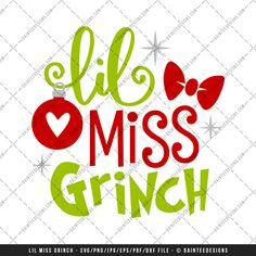 "Featured here is our scalable vector graphic (SVG) file, ""Lil Miss Grinch"". This is a digital file only and is perfect for any vinyl cutter. This is an instant download and available upon purchase. You will receive a zip folder that will need to be unzipped.  Full details can be found below."