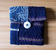small pouch/purse/wallet in antique Japanese fabrics, hand sewn and hand embroidered/ sashiko/katazome/kasuri