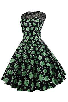 B| Chicloth Summer Vintage Dress Retro Clover Printed Women Dress