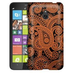 Nokia Lumia 1320 Paisleys Outline Orange on Black Slim Case