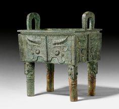 "BRONZE ""FANG DING"" VESSEL,        China, early western Zhou dynasty."