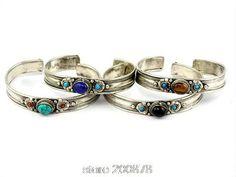 Traditional Tibetan Silver Natural Stone Bead Bangle Bracelet handmade Lapis Amethyst Moonstone - ONUVE