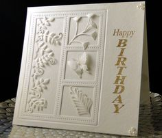 Anne Bday Feb 2017 Frame cut from front of card and placed back in, backed by same water color card stock. top die is memory Box, Butterfly and fern cut on Silhouette. Long floral inset and frame both from China. Happy Birthday is from Woodware. Created by Peggy Dollar