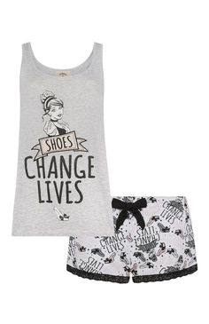 Primark - Grey Disney Princess PJ Set