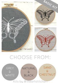 Butterfly embroidery kit DIY needlecraft modern by iHeartStitchArt