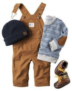 Overalls, little boots, and the sweater with the elbow patch! Perfect fall outfit for my little guy :)