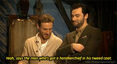 (gif #2) Dean & Aidan being quizzed on their clothes.