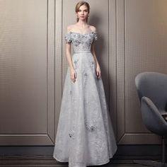 Moderne Mode Gris Robe De Soirée 2017 Princesse Appliques Encolure Dégagée Dentelle Brodé Fleur Soirée Robe De Ceremonie