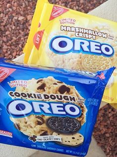New Oreo Flavors!!  Cookie Dough and Marshmallow Crispy Oreos. Can't wait for these to come out! feb 3rd