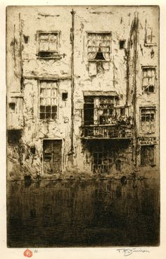 Old Houses, Amsterdam, 1909 Tavik Frantisek Simon Šimon's style was strongly influenced by the French Impressionists and, perhaps through them, by Japanese printmaking techniques, in particular color aquatints with soft ground etching.
