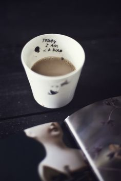 cups with writing on the inside - time to get out my ceramic pen!