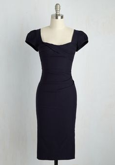 CEO My Darling Dress in Navy. After cultivating your accredited career, flaunt your fabulous fashion in this elegant sheath dress by Stop Staring! #blue #modcloth