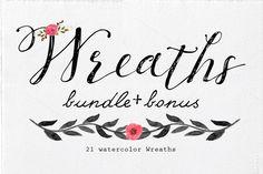 (-60%) Watercolor Wreaths Bundle by Lizamperini on Creative Market