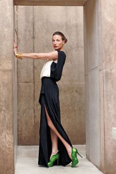 Gown, Yigal Azrouël, $1,490. Pumps, Jerome C. Rousseau. Ring, Trina Turk. Bracelet, Paula Mendoza.