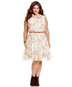 American Rag Plus Size Dress, Sleeveless Floral-Print Studded-Collar Shirtdress