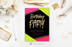 Birthday Invitation Neon Birthday Invite by DuffyDesignCo on Etsy Prom Invites, Bachelorette Party Invitations, Bachelorette Weekend, Birthday Invitations, Neon Birthday, Printable Invitations, Party Planning, Pink And Gold, Stationery