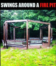 Swings around a fire pit . Do a half circle for the outside theater?