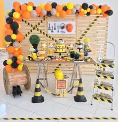 Digger Birthday Parties, 3 Year Old Birthday Party Boy, 2nd Birthday Party Themes, 3rd Birthday Cakes, First Birthday Parties, Birthday Banners, Farm Birthday, 1st Birthdays, Construction Party Decorations