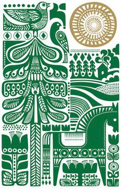 sanna annuka pattern bird tree horse sun green flowers christmas