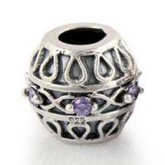 Gems and Silver Purple Rock Crystal Birthstone Charms  Fit pandora,trollbeads,chamilia,biagi,soufeel and any customized bracelet/necklaces. #Jewelry #Fashion #Silver# handcraft #DIY #Accessory