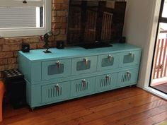 Large Retro Industrial Tv Stand Coffee Table Vintage Entertainment Unit Locker Ebay 499